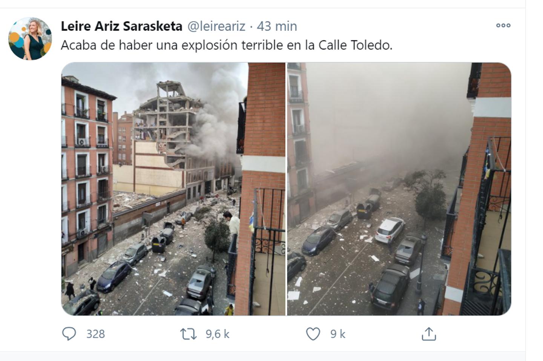 Une forte explosion d'origine inconnue s'est produite ce mercredi après-midi dans un immeuble du centre de Madrid, selon la Télévision nationale espagnole (TVE) et des témoins.