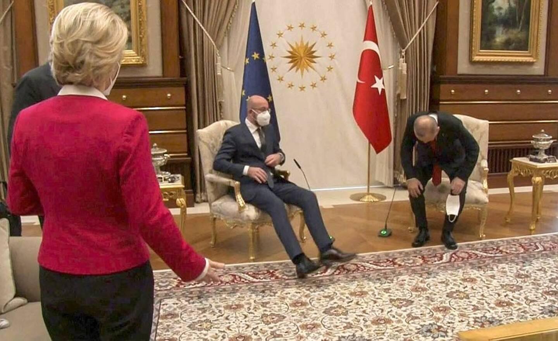 Ursula von der Leyen, Charles Michel et Recep Tayip Erdogan, à Ankara