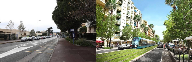 À Cagnes-sur-Mer: avant et après, au niveau du groupe scolaire La Pinède, du côté de l'avenue de Nice. Pour la cité de Renoir, vous avez été une majorité sur Nicematin.com à prôner la création d'un terminus au niveau de Polygone Riviera.