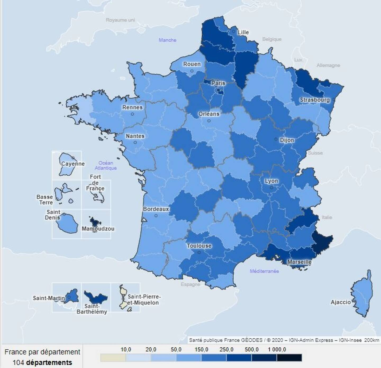 La carte du taux d'incidence hebdomadaire, au 14 février.