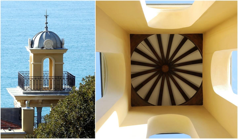 Démoli au cours de la vie du bâtiment, le clocheton a été recréé sur son emplacement d'origine, au haut de la tour située sur l'aile l'ouest de la villa.